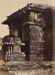 [Sculptural detail of the west side of the north entrance of the Hoysalesvara Temple, Halebid.]